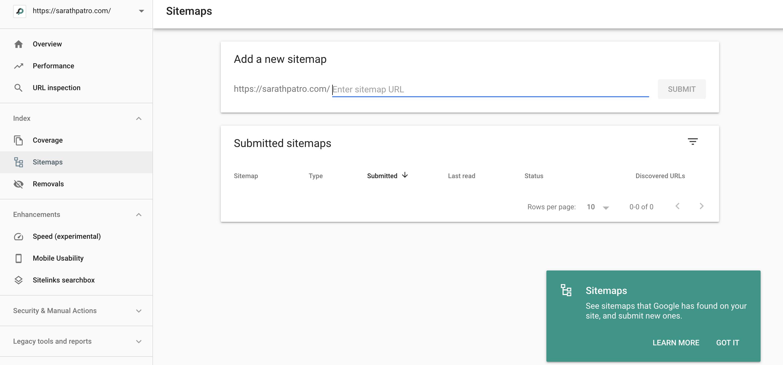 Google webmasters - Sitemap