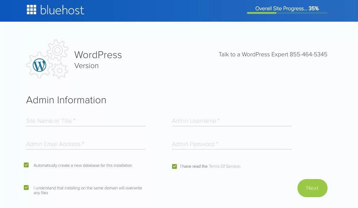 Additonal info bluehost while wordpress installation