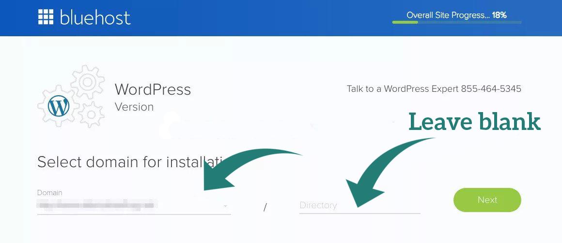 blue host wordpress installation
