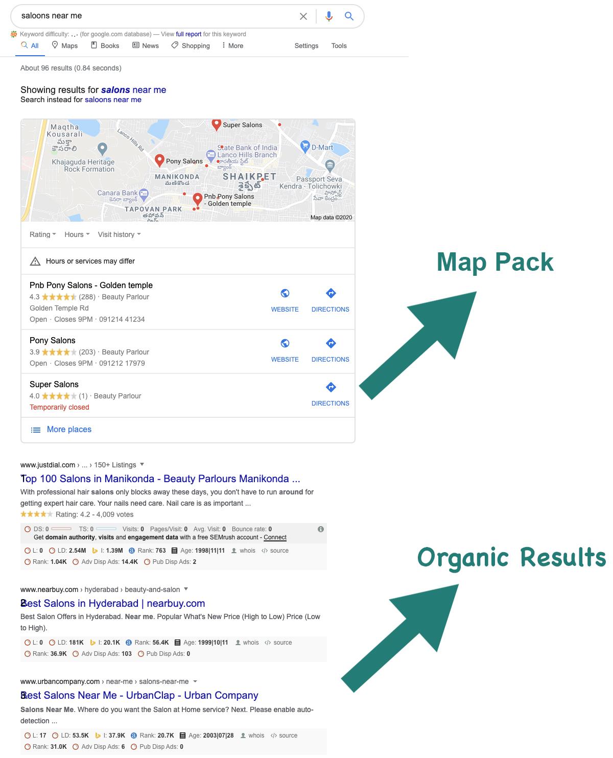 Map pack vs Organic