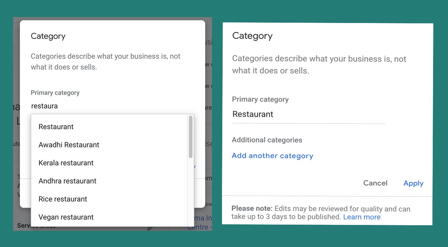 Google Business Listing Category